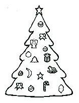 Christmas tree with various ornaments including a banana, a bell, a rocking horse, a pineapple, a candy cane