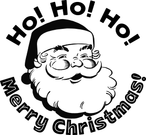 Drawing of Santa Claus encircled by the words ho ho ho merry Christmas