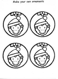 Christmas ornaments featuring image of monkey in Santa hat under mistletoe. Scissor lines for cutting and message: make your own ornaments