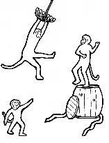 One monkey dancing. One monkey dancing on top of barrel. One monkey swinging on chandelier.