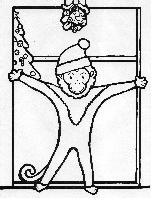Monkey wearing a Santa hat stands in doorway underneath mistletoe expecting a kiss. Christmas tree in background